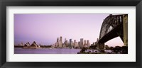 Framed Sydney Harbor Bridge with Purple Sky, Sydney, Australia