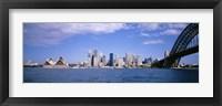 Framed Sydney Harbor Bridge and Skyscrapers, Sydney, Australia