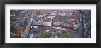 Framed Aerial view of a town square, Bruges, Belgium