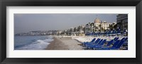 Framed Empty lounge chairs on the beach, Nice, French Riviera, France
