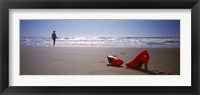 Framed Woman And High Heels On Beach, California, USA
