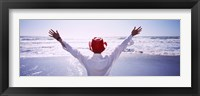 Framed Woman With Outstretched Arms On Beach, California, USA