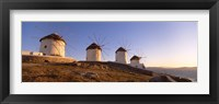 Framed Low angle view of traditional windmills, Mykonos, Cyclades Islands, Greece