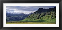 Framed View Of Farm And Cliff In The South Coast, Sheer Basalt Cliffs, South Coast, Iceland