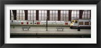Framed Trains at a railroad station platform, Antwerp, Belgium