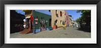 Framed Multi-Colored Buildings In A City, La Boca, Buenos Aires, Argentina
