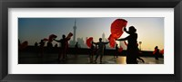 Framed Silhouette Of A Group Of People Dancing In Front Of Pudong, The Bund, Shanghai, China