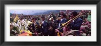 Framed Musicians Celebrating All Saint's Day By Playing Trumpet, Zunil, Guatemala