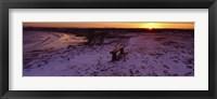 Framed Bench On A Snow Covered Landscape, Filey Bay, Yorkshire, England, United Kingdom