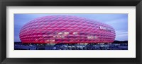 Framed Soccer Stadium Lit Up At Dusk, Allianz Arena, Munich, Germany