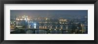 Framed High angle view of a bridge at dusk, Charles Bridge, Prague, Czech Republic