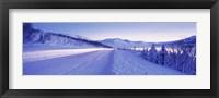 Framed Highway running through a snow covered landscape, Akureyri, Iceland