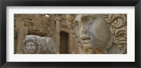 Framed Close-up of statues in an old ruined building, Leptis Magna, Libya