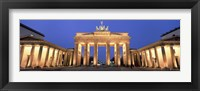 Framed Low angle view of a gate lit up at dusk, Brandenburg Gate, Berlin, Germany