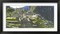 Framed Buildings on a hill, Andes Mountains,Machu Pichu, Peru