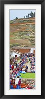 Framed Group of people in a market, Chinchero Market, Andes Mountains, Urubamba Valley, Cuzco, Peru