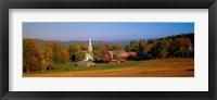 Framed Church and a barn in a field, Peacham, Vermont, USA