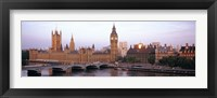 Framed Arch bridge across a river, Westminster Bridge, Big Ben, Houses Of Parliament, Westminster, London, England