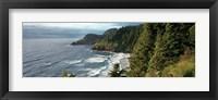 Framed High angle view of a coastline, Heceta Head Lighthouse, Oregon, USA