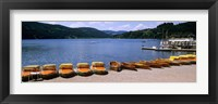 Framed Row of boats in a dock, Titisee, Black Forest, Germany