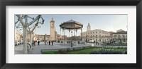 Framed Tourists in front of buildings, Plaza De Cervantes, Alcala De Henares, Madrid, Spain