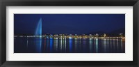 Framed Buildings lit up at night, Jet D'eau, Lake Geneva, Lausanne, Switzerland