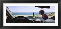 Framed Lake viewed through the windshield of a car, Pyramid Lake, Washoe County, Nevada, USA