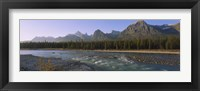 Framed Trees along a river with a mountain range in the background, Athabasca River, Jasper National Park, Alberta, Canada