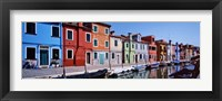 Framed Houses at the waterfront, Burano, Venetian Lagoon, Venice, Italy