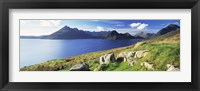 Framed Rocks on the hillside, Elgol, Loch Scavaig, view of Cuillins Hills, Isle Of Skye, Scotland