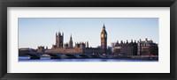 Framed Bridge across a river, Big Ben, Houses of Parliament, Thames River, Westminster Bridge, London, England