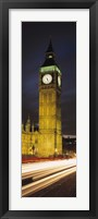Framed Clock tower lit up at night, Big Ben, Houses of Parliament, Palace of Westminster, City Of Westminster, London, England