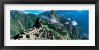 Framed High angle view of ruins of ancient buildings, Inca Ruins, Machu Picchu, Peru
