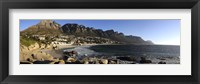 Framed Camps Bay with the Twelve Apostles in the background, Western Cape Province, South Africa