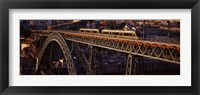 Framed Metro train on a bridge, Dom Luis I Bridge, Duoro River, Porto, Portugal