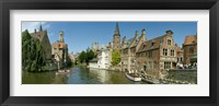 Framed Buildings at the waterfront, Rozenhoedkaai, Bruges, West Flanders, Belgium