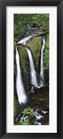 Framed High angle view of a waterfall in a forest, Triple Falls, Columbia River Gorge, Oregon (vertical)