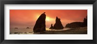 Framed Silhouette of seastacks at sunset, Olympic National Park, Washington State