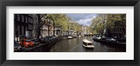 Framed Close up of Boats in a canal, Amsterdam, Netherlands