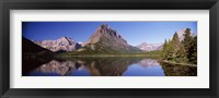 Framed Swiftcurrent Lake,US Glacier National Park, Montana, USA