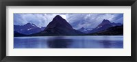 Framed Reflection of mountains in a lake, Swiftcurrent Lake, Many Glacier, US Glacier National Park, Montana (Blue)