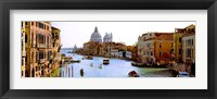 Framed Boats in a canal with a church in the background, Santa Maria della Salute, Grand Canal, Venice, Veneto, Italy