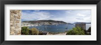 Framed View of a harbor from a castle, St Peter's Castle, Bodrum, Mugla Province, Aegean Region, Turkey
