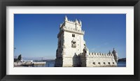 Framed Tower at the riverbank, Belem Tower, Lisbon, Portugal