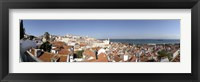 Framed High angle view of a city, Sao Vicente da Fora, Largo das Portas do Sol, Alfama, Lisbon, Portugal