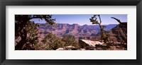 Framed Mountain range, South Rim, Grand Canyon National Park, Arizona