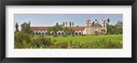 Framed Garden in front of a mission, Mission Santa Barbara, Santa Barbara, Santa Barbara County, California, USA