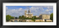 Framed Cathedral at the riverside, Notre Dame Cathedral, Seine River, Paris, Ile-de-France, France