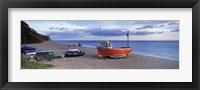 Framed Boats on the beach, Branscombe Beach, Devon, England