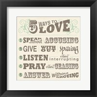 Framed Five Ways to Love